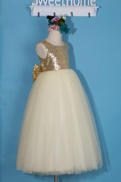 Gold Shirts For Girls Australia - New Flower Girl Dress Little Girl Princess Sequins Gold Bridesmaid For Formal Wedding Occasion Wish Sash Princess Bow Brithday