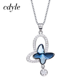 $enCountryForm.capitalKeyWord Australia - Cdyle Crystals from Swarovski Necklace Women Pendants S925 Sterling Silver Fashion Jewelry Blue Butterfly Austrian Rhinestone