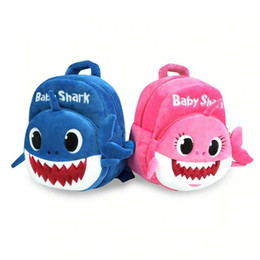 BaBy 3d online shopping - Baby Shark Backpack Children Kids Cute Plush School Backpack Cartoon D Animal Printed Kinderegarten Bags OOA6417