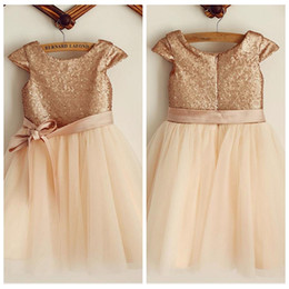 $enCountryForm.capitalKeyWord UK - 2019 Bling Bling Rose Gold Sequins A-Line Flower Girls Dresses Ribbon Short Formal Kids Party Gowns Tea-Length Tulle Birthday Gowns Simple