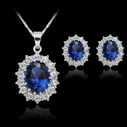 Bride Blue Jewelry Sets Australia - Fashion Blue Crystal Stone Wedding Jewelry Sets For Brides Silver Color Snowflake Necklace Earrings Set For Women African