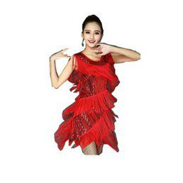 1432c81d2132 2019 New Latin Stage Costume Sequins Tassel Costume Adult Female Latin  Dance Dresses Vestidos De Baile Latino Vestido De Danca Latina