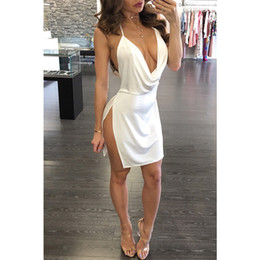Wholesale sexy wine dresses for sale - Group buy 2018 summer solid color white wine red backless strap dress side open deep V neck sexy dress temperament mini dress WGLYQ11