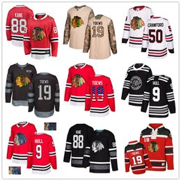 crawford jerseys UK - Custom Chicago Blackhawks Jersey 9 Bobby Hull 88 Patrick Kane 19 Jonathan Toews 12 DeBrincat 50 Crawford 64 Keith USA Flag hockey jerseys