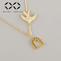 $enCountryForm.capitalKeyWord Australia - 925 sterling silver necklace Women Long Chain Bird Necklaces Birdcage Statement Pendants Choker collar gold necklace Jewelry Z4