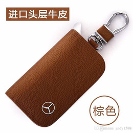 $enCountryForm.capitalKeyWord Australia - BRAND NEW Leather Car Key Case Cover Key Holder Wallet for Mercedes Benz Brand New Car Key Chain Cover