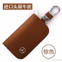 Großhandel BRANDNEUE Leder Autoschlüssel Fall Abdeckung Schlüsselhalter Brieftasche für Mercedes Benz Brand New Car Key Chain Cover