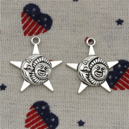 Moon Stars Charms Australia - 147pcs Charms sun moon star 27*23mm Pendant, Tibetan Silver Pendant,For DIY Necklace & Bracelets Jewelry Accessories