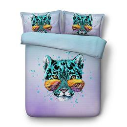 Leopard Print Comforters Australia - 3D Leopard Bedding Cover Wildlife Duvet Cover Sets Teens Boys Decorative 3 Piece Bedspread With 2 Pillow Shams No Comforter