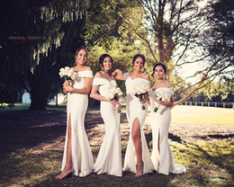 $enCountryForm.capitalKeyWord Australia - 2019 White Off Shoulder Bridesmaid Dresses Sexy High Side Split Girls Formal Evening Wedding Party Gowns
