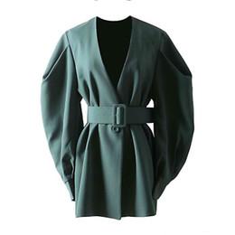 $enCountryForm.capitalKeyWord Australia - Designer Elegant Womens Jackets Pullover V Neck Medium Long Coat With Belt Female High Quality Outwear Jacket A122