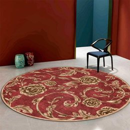 living room floor mats floral NZ - Europe Gold Rose Floral Red Roud Rug Retro Carpet Living Room Floor Mat Bedroom Modern Coffee Table Rug Bedside Mat