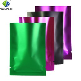 variety roses UK - Variety of Sizes Aluminum Foil Mylar Flat Pouch Heat Seal Clear Front Matte Green Purple Rose Black Open Top Bags w  Tear Notch