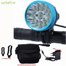 bicycle light battery pack UK - Walkfire Waterproof Bike Light Headlamp 20000 lumens 12 x XML T6 LED Bicycle Cycling Head Light + 18650 Battery Pack +Charger eZmU#