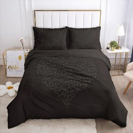 heart shaped beds NZ - 3D Bedding Set Quilt Covers Pillowcase Duvet Cover Sets Bed Linens Full Twin Single Size Black Heart-shaped Bedclothes