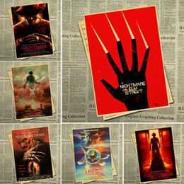 vintage cafe posters NZ - Classic American horror movie a Nightmare on Elm Street Retro Poster Vintage Wall Decor For Home Bar Cafe ypZK#