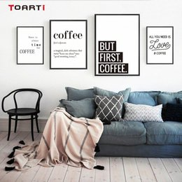family love wall decor Canada - Coffee Quotes Posters Prints Modern Canvas Painting On The Wall Love Coffee Art For Kitchen Living Room Home Decor Family Gift 8GSj#