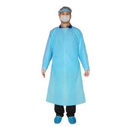 CPE Koruyucu Giysi Tek İzolasyon Önlük Giyim Elastik Manşetleri Anti Toz Önlük Açık Koruyucu Giysi ZZA2228-1 Takımları