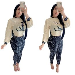 wholesale printed yoga pants UK - Women 2 piece set brand summer fall clothes sweatsuit running sweatshirt pants sportswear pullover leggings outfits hoodies bodysuit 0214