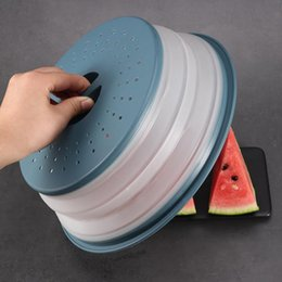 wholesale baskets lids NZ - Silicone Folding Dish Cover Collapsible Microwave Cover Silicone Fruit Colander Washing Fruit Vegetable Basket Microwave Plate Lid DHD14