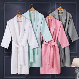 Wholesale men s bathrobes resale online - Pure pajamas and s cotton for men and women waffle bathrobe hotel nightgown women s autumn thin hotel bathrobe long pajamas