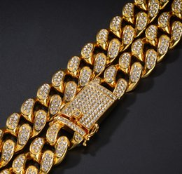 diamond party strands UK - fashion high-end gold filled inlay crystal diamond men's necklace (470*20mmm) 28br