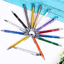 capacitive touch screen pens UK - 14.6x1.0cm wholesale metal aluminum rod capacitive touch ballpoint pen, handwriting touch screen dual-use metal touch screen pen