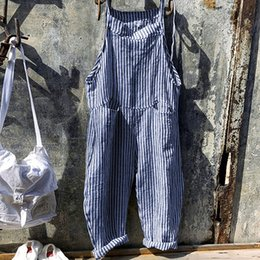jumpsuits suits Canada - Fashion Elegant Women Cotton Linen Long Wide Leg Strappy Overalls Casual Loose Striped Simple Jumpsuit Trousers Suit