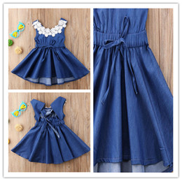 novas saia moda denim venda por atacado-Ins Verão Meninas Saias Sem Mangas Denim Vestidos Lace Neck Designer de moda Azul Backless Dress Kids Girls Party Aniversário Roupas Novo Ly708
