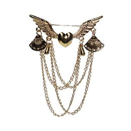 wing collar brooches UK - 2020 designer brooch Love Wings brooch with tassel jewelry retro multi-layer chain collar pin button set clothing accessories jewelry
