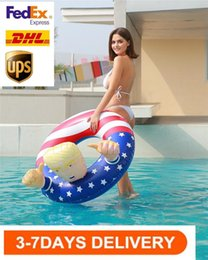 swim floats for adults NZ - DHL SHIP, Trump Swim Ring Inflatable Floats Thicken Circle Flag Swim Ring Float for Adults Summer Pool Life Vest & Buoy