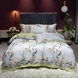 Discount cotton queen bedding set Botanical Flowers Luxury Egyptian Cotton Printing Duvet Cover Set Bedding Set Bed Sheet Flat Sheet Pillowcase Queen King