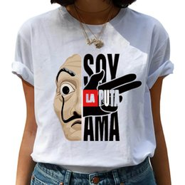 Wholesale women la shirt online – design Maycaur The House of Paper T Shirt New Money Heist Women La Casa De Papel Tshirt Funny Top Tee Fashion Female Clothes T shirts
