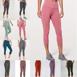 F das mulheres calças de yoga grife Wunder trem treino de ginásio lu 25 32 leggings cor sólida esportes de cintura alta desgaste Senhora da aptidão elástica collants fd89 # em Promoção