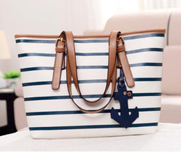 Discount handbag anchor Women Casual Stripe Fashion Designer Bag Handbag Fashion For Leisure Leather Purse Nval Totes Anchor Messenger Shoulder