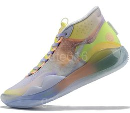 basketball shoes kids 12 NZ - 2020 KD 12 EYBL Peach Jam University Red The 90s Kid Protro Green Camo basketball shoes Kevin Durant 12 Wolf Grey Oreo Sneakers a25