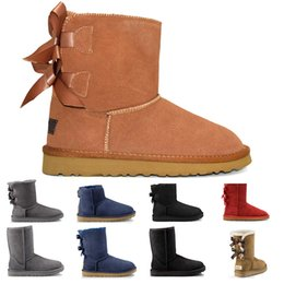 Discount warm flat shoes New WGG chestnut half Ankle Boots for women girls Black Red Grey coffee Snow booties Bailey Bowknot boot Warm Winter Sho
