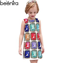 diamonds for clothes UK - BEENIRA Summer Girls Dress Kids Princess Dresses Children Diamond Print Vest Clothing For Daughter High Quality 4y-14y