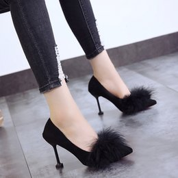 flock dress Canada - Spring Autumn The New High Heels Shoes Woman Fashion Shallow Furry Thin Heels Flock Pointed Toe Dress Slip-On High 5cm-8cm Flock