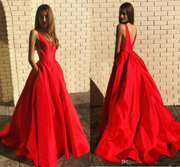 gown pockets red carpet UK - Sexy Red Cheap Simple A Line Prom Dresses Deep V Neck Satin Evening Dress with Pockets Formal Dress Evening Gowns vestido ogstuff