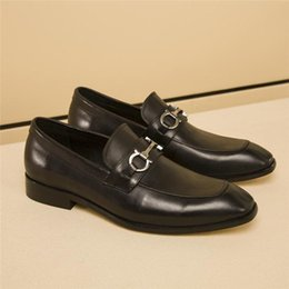 glossy leather shoes Canada - size 38-45 with box Brand Jordaan black leather loafer new Horsebit loafers luxury classic men moccasins casual shoes Fe r r glossy