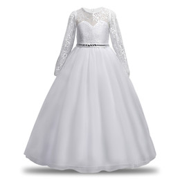Discount white lace kids dress casual White Lace Princess Dresses For Girl Evening Dress For Baby Girls Ball Gown Kids Girls Dress Celebration Clothing Weddin