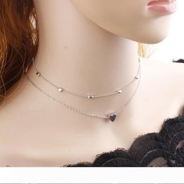 mexican silver collar necklace Australia - Silver Gold Color Jewelry Love Heart Necklaces Pendants Double Chain Choker Necklace Collar Women Statement Jewelry