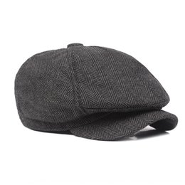 british cap UK - Thickened casual warm British men's Warm beret beret men's cap octagonal cap newsboy hat