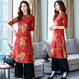 clear pants Canada - Ethnic women's clothing autumn new slimming retro improved cheongsam dress pants set two-piece suit T200716