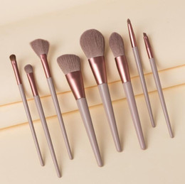blush makeup hair NZ - Premium makeup brushes set 8Pcs tools for eyeshadow loose powder blush cosmetics horse hair wood handle brush 4 colors available DHL Free