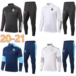 blue real madrid s soccer jersey Canada - 2020 2021 Real om Madrid trianing Soccer Jersey Tracksuits Marseille football shirt madrid trianing jacket kit uniforms chandal survetement