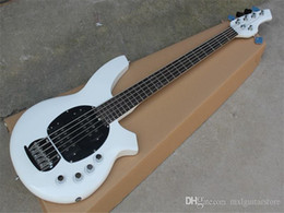 basses for sale UK - Hot sale! 5 Strings White Electric Bass with Active Circuit,White Pickguard,Rosewood Fretboard,offer customized