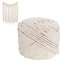 twisted rope cord UK - 1Pcs Durable 4Mmx100 Meters Natural Beige White Macrame Cotton Twisted Cord Rope Diy Home Textile Accessories Craft