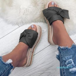 hot flops shoes Canada - Hot style- Women Bow Summer Sandals Slipper Indoor Outdoor Flip-flops Beach Shoes Fashion Female Flower Slipper Chanclas Mujer